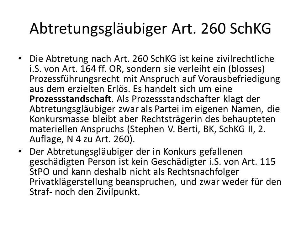 Abtretungsgläubiger Art. 260 SchKG