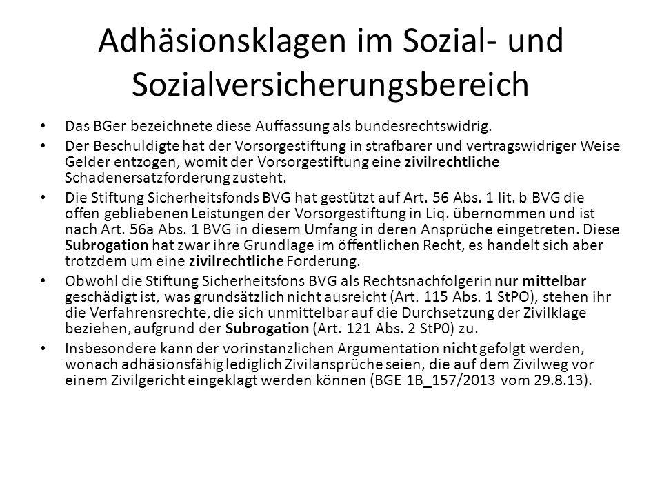 Adhäsionsklagen im Sozial- und Sozialversicherungsbereich