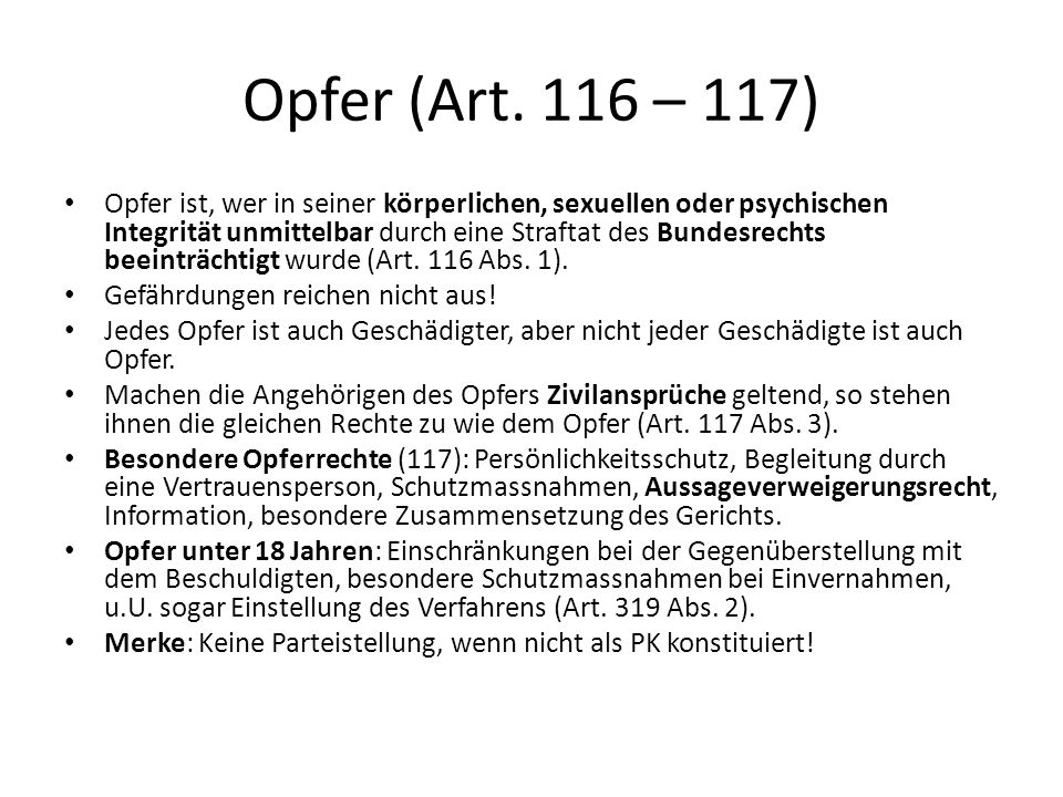 Opfer (Art. 116 – 117)