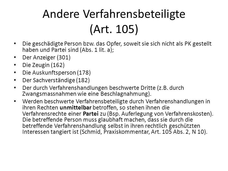 Andere Verfahrensbeteiligte (Art. 105)