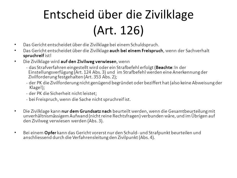 Entscheid über die Zivilklage (Art. 126)