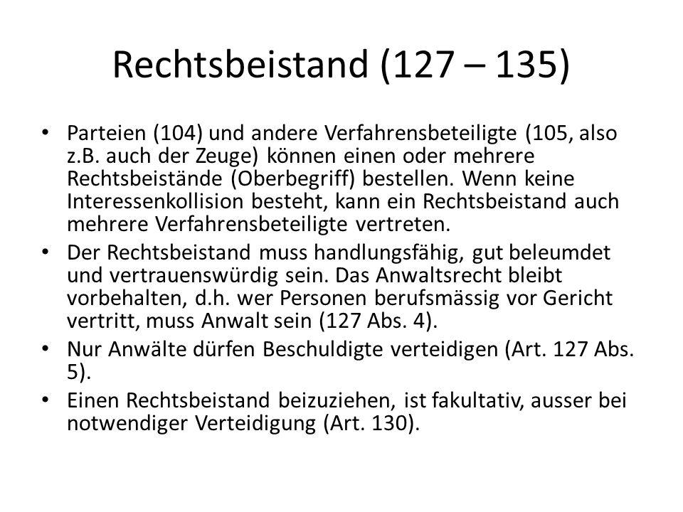Rechtsbeistand (127 – 135)