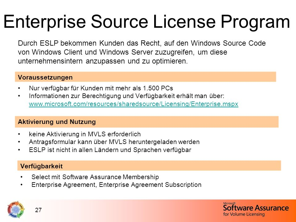 Enterprise Source License Program
