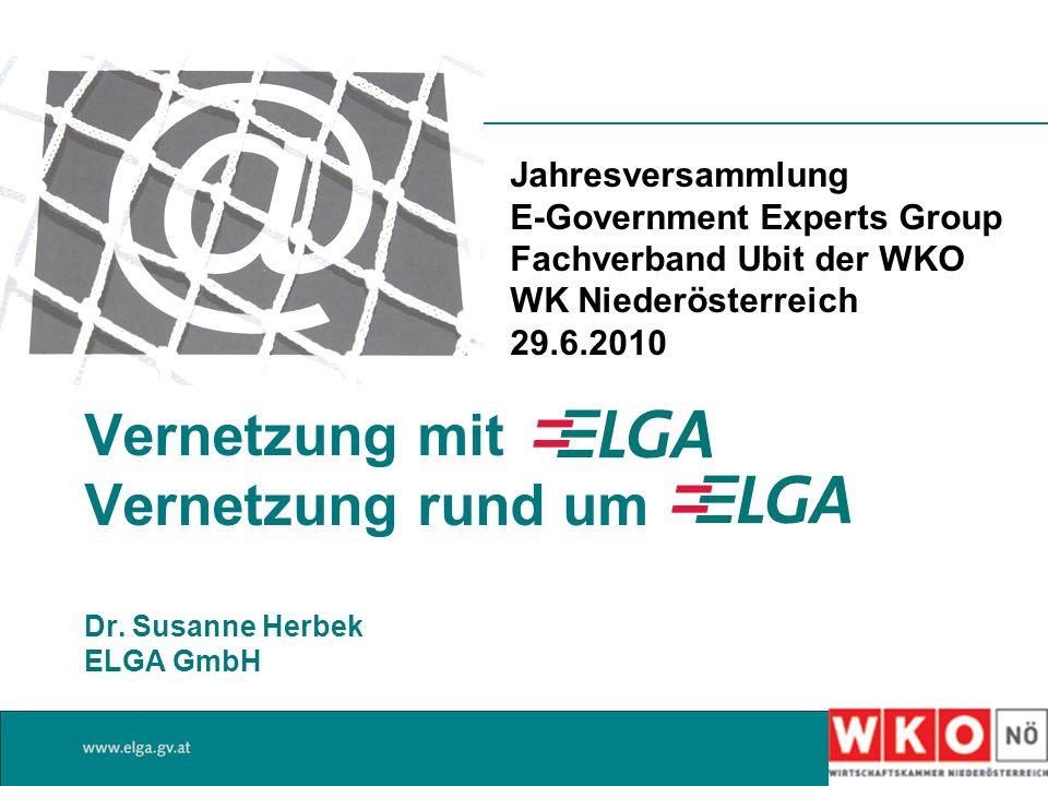 Vernetzung mit Vernetzung rund um Dr. Susanne Herbek ELGA GmbH