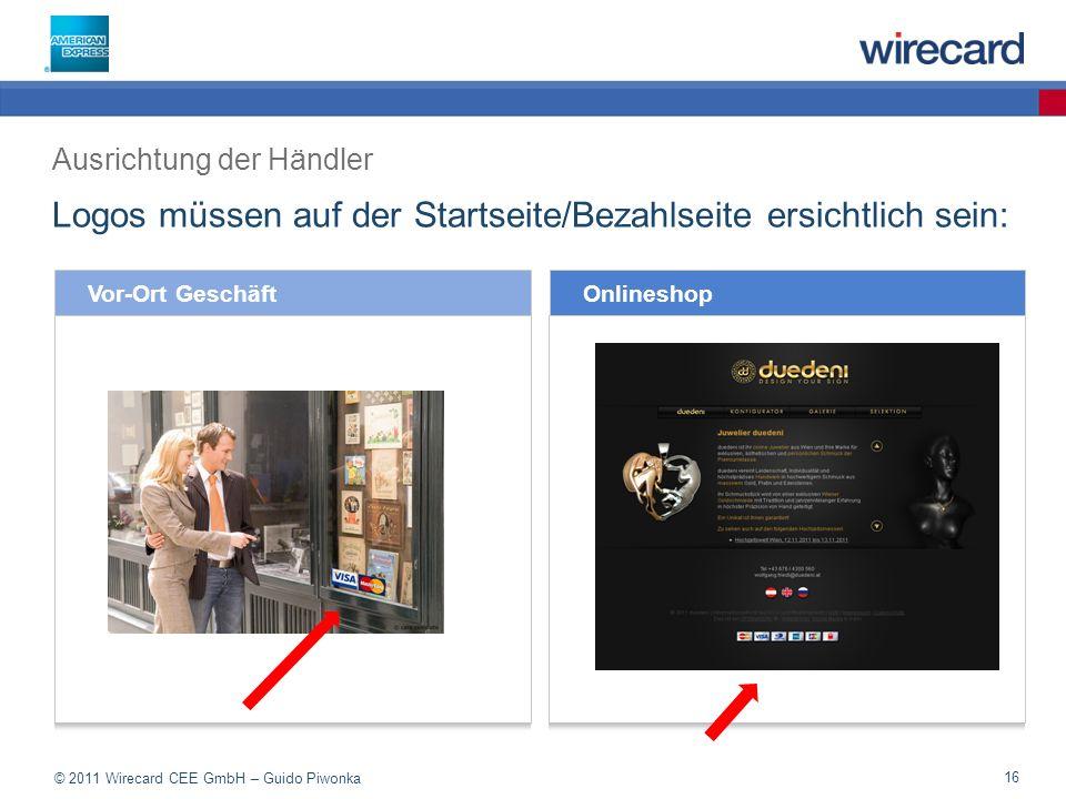 Logos müssen auf der Startseite/Bezahlseite ersichtlich sein: