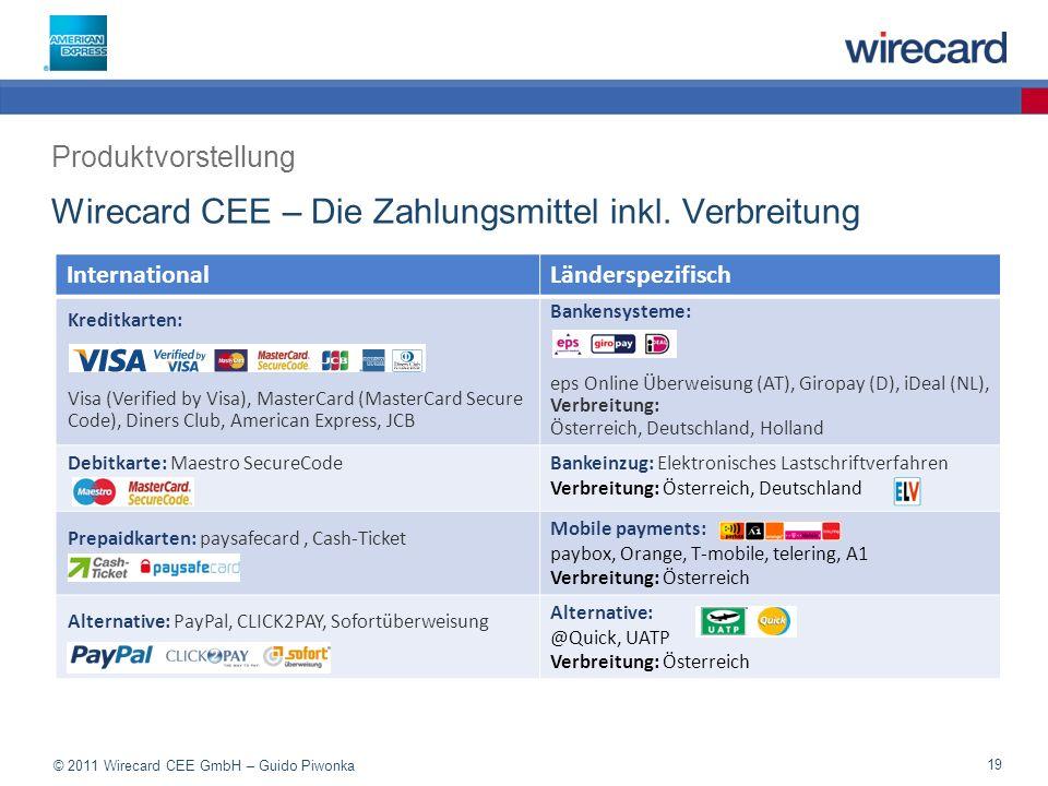 Wirecard CEE – Die Zahlungsmittel inkl. Verbreitung