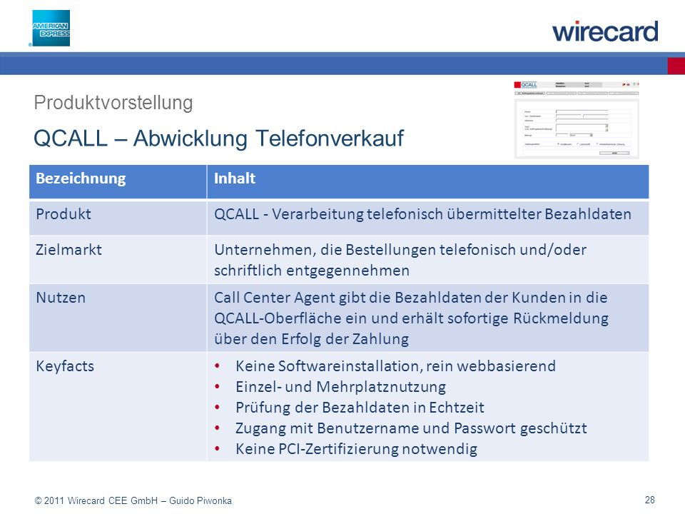 QCALL – Abwicklung Telefonverkauf