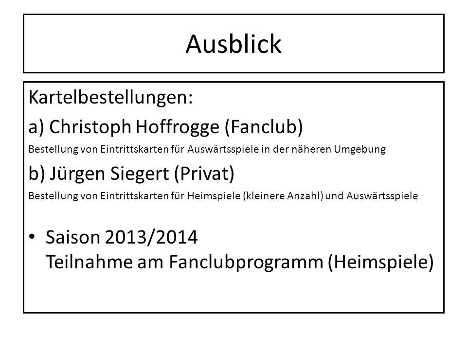 Ausblick Kartelbestellungen: a) Christoph Hoffrogge (Fanclub)