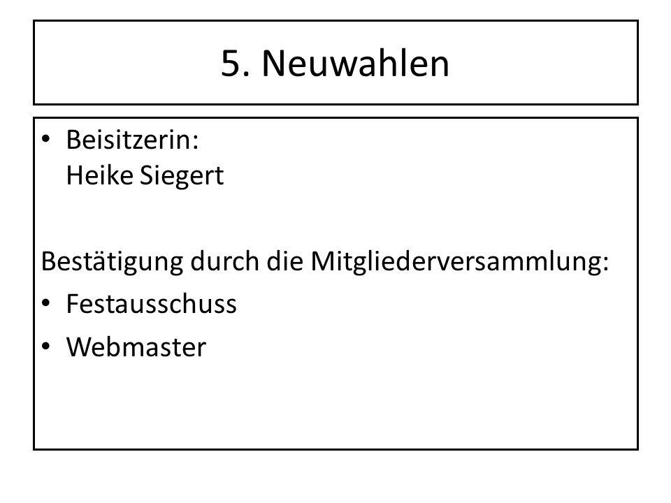 5. Neuwahlen Beisitzerin: Heike Siegert