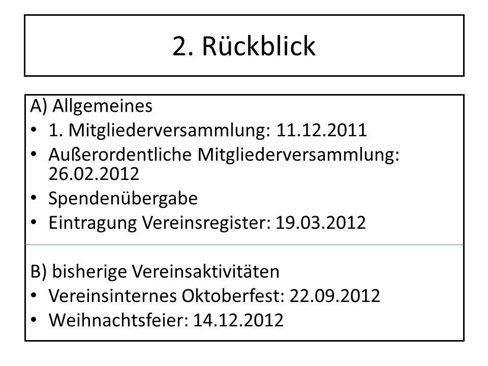2. Rückblick A) Allgemeines 1. Mitgliederversammlung: 11.12.2011