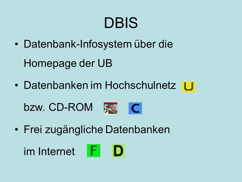 DBIS Datenbank-Infosystem über die Homepage der UB