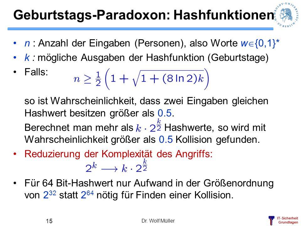 Geburtstags-Paradoxon: Hashfunktionen