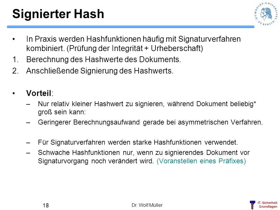 Signierter Hash In Praxis werden Hashfunktionen häufig mit Signaturverfahren kombiniert. (Prüfung der Integrität + Urheberschaft)