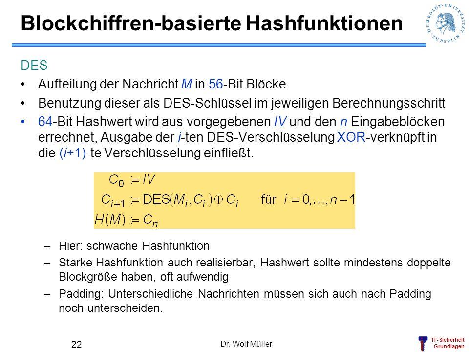 Blockchiffren-basierte Hashfunktionen