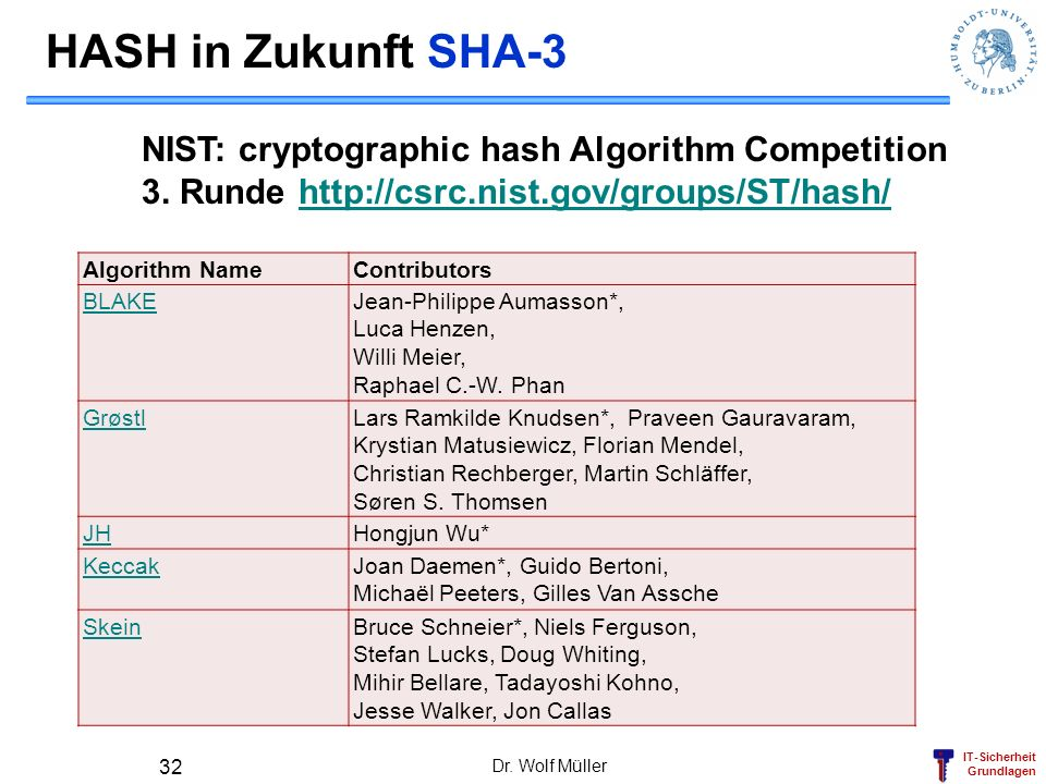 HASH in Zukunft SHA-3 NIST: cryptographic hash Algorithm Competition