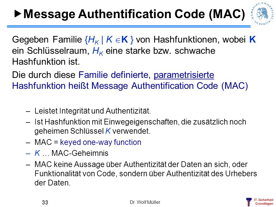Message Authentification Code (MAC)