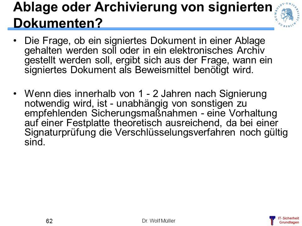 Ablage oder Archivierung von signierten Dokumenten
