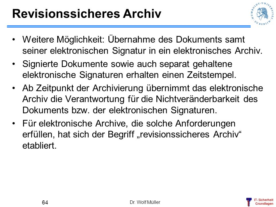 Revisionssicheres Archiv