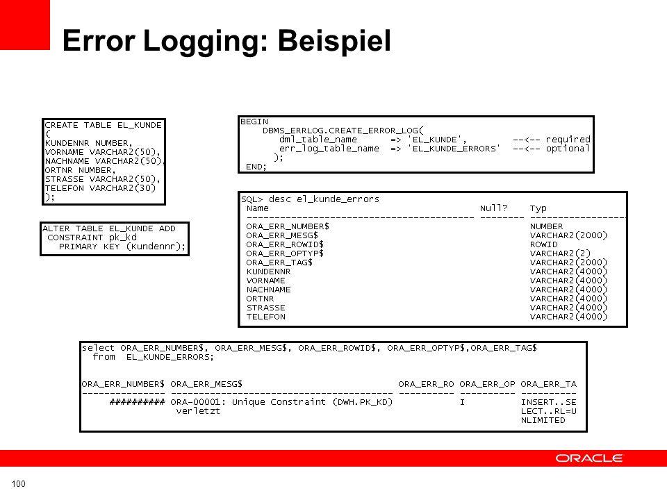 Error Logging: Beispiel