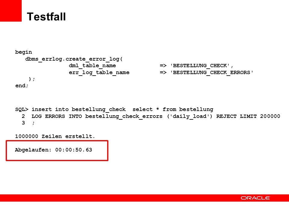 Testfall begin dbms_errlog.create_error_log(