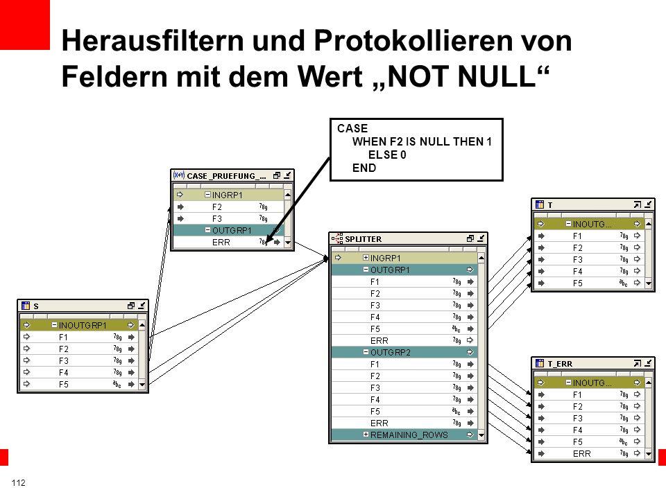 """Herausfiltern und Protokollieren von Feldern mit dem Wert """"NOT NULL"""