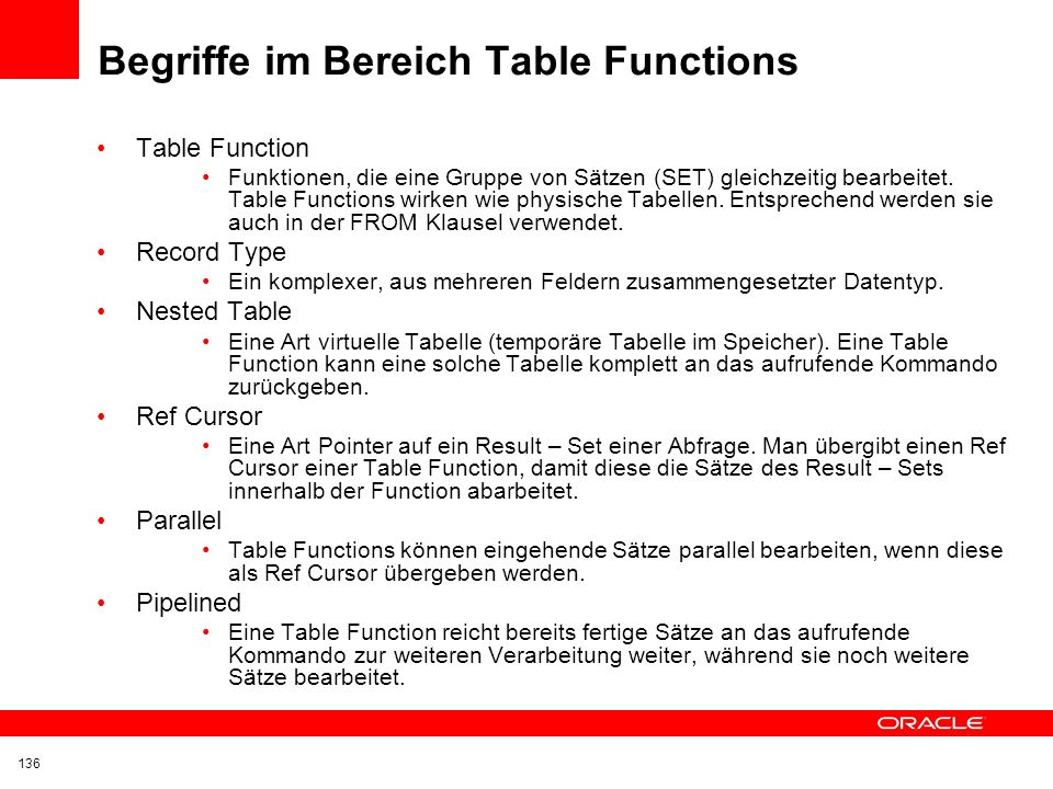 Begriffe im Bereich Table Functions