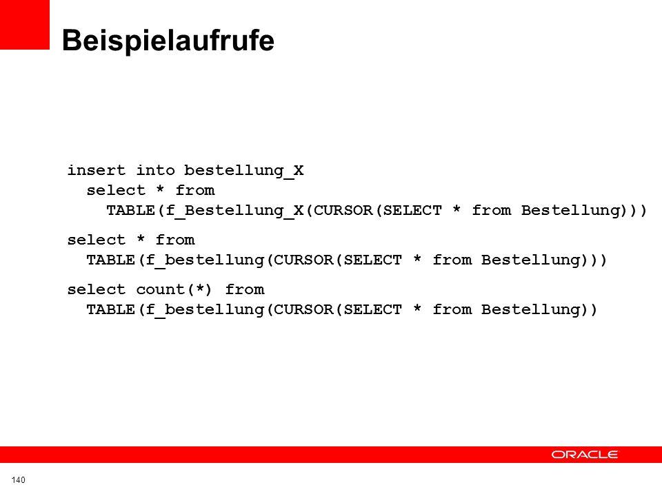 Beispielaufrufe insert into bestellung_X select * from TABLE(f_Bestellung_X(CURSOR(SELECT * from Bestellung)))