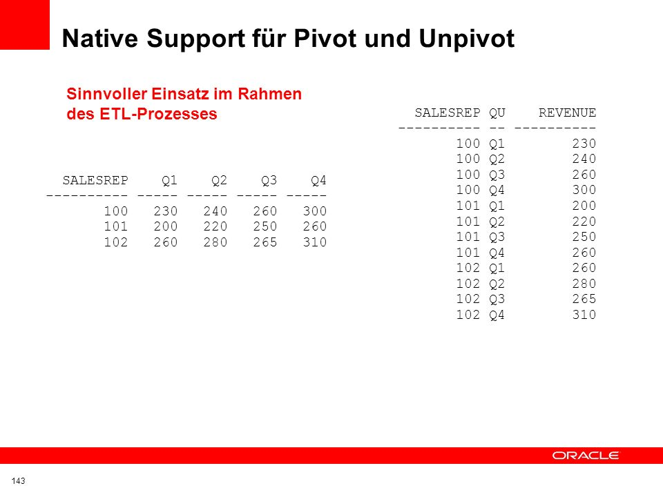 Native Support für Pivot und Unpivot