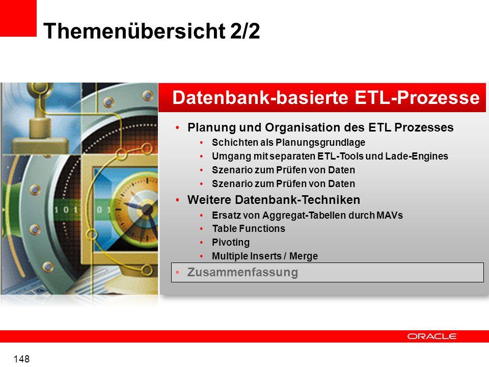 Themenübersicht 2/2 Datenbank-basierte ETL-Prozesse