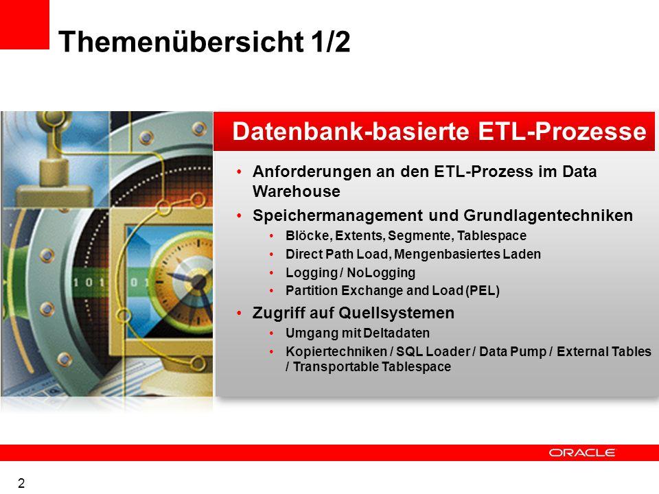 Themenübersicht 1/2 Datenbank-basierte ETL-Prozesse