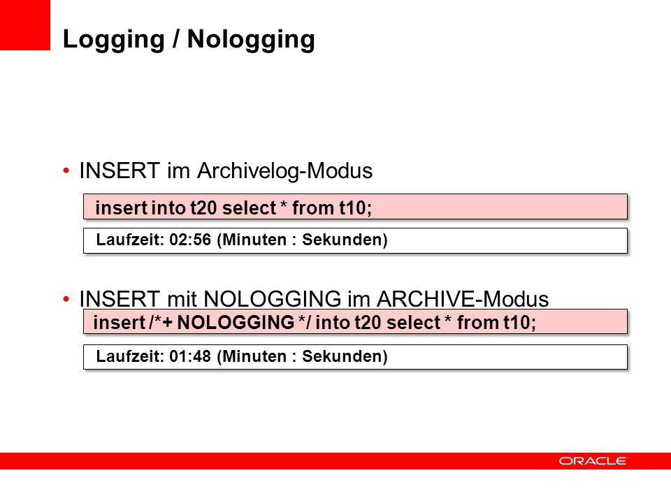 Logging / Nologging INSERT im Archivelog-Modus