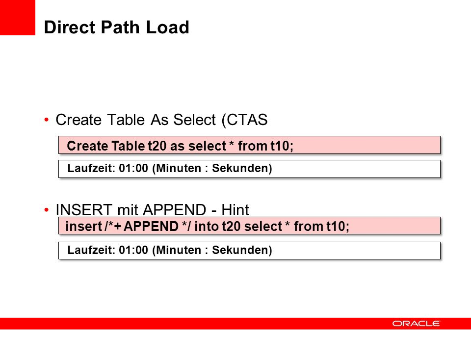 Direct Path Load Create Table As Select (CTAS INSERT mit APPEND - Hint