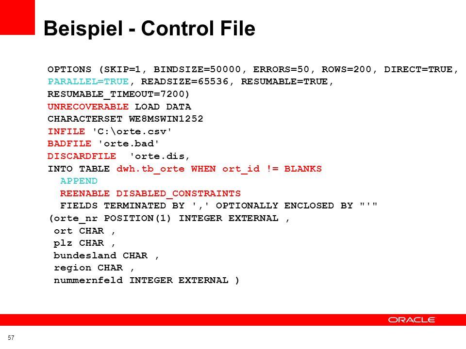 Beispiel - Control File