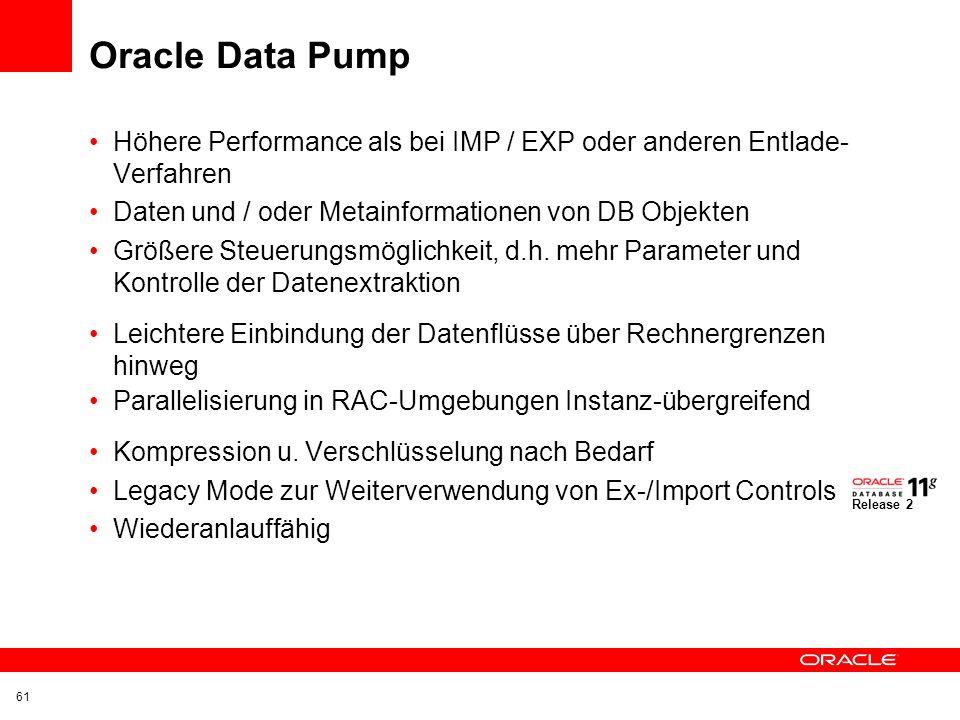 Oracle Data Pump Höhere Performance als bei IMP / EXP oder anderen Entlade-Verfahren. Daten und / oder Metainformationen von DB Objekten.