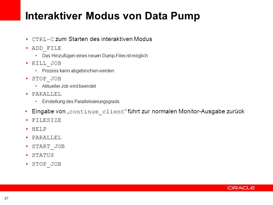 Interaktiver Modus von Data Pump