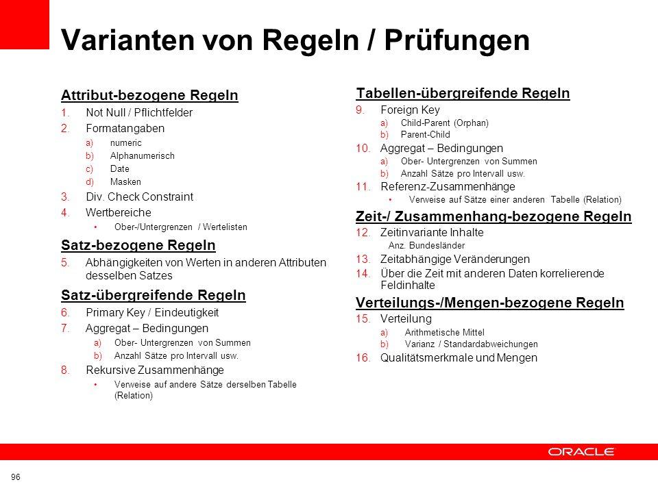 Varianten von Regeln / Prüfungen