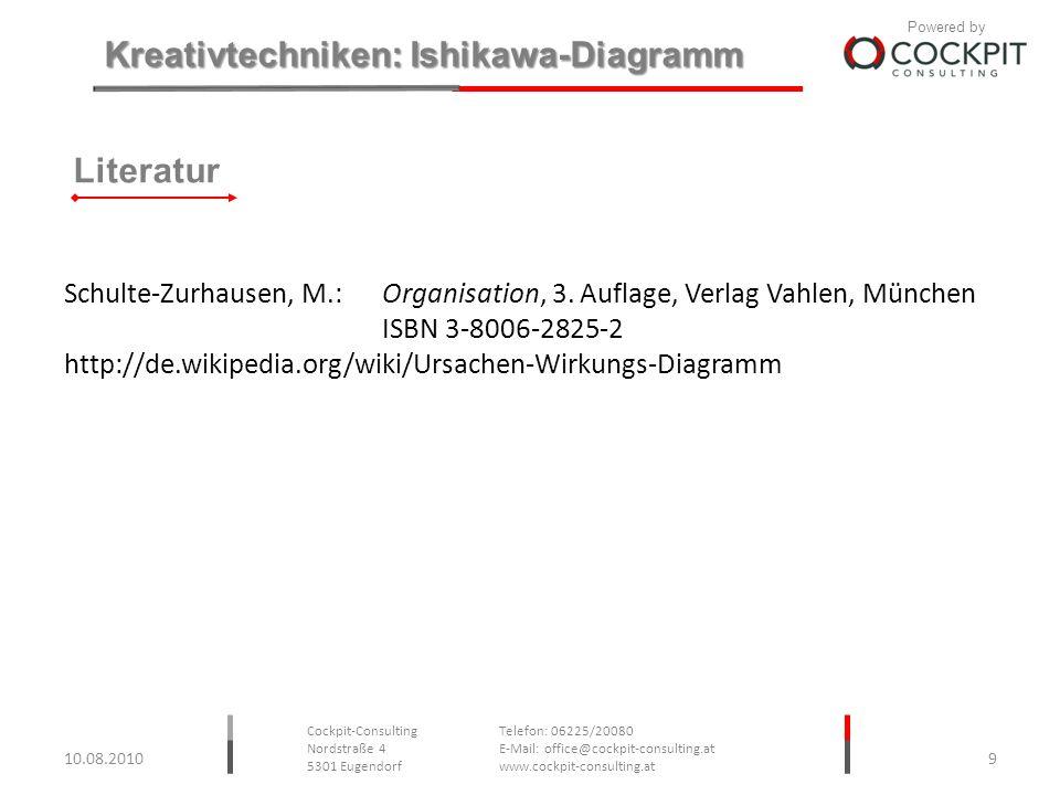Literatur Schulte-Zurhausen, M.: Organisation, 3. Auflage, Verlag Vahlen, München. ISBN 3-8006-2825-2.