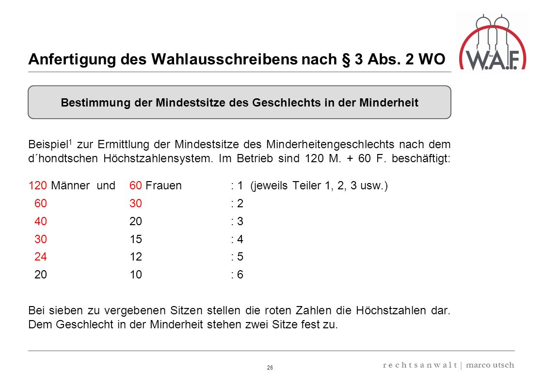 Anfertigung des Wahlausschreibens nach § 3 Abs. 2 WO