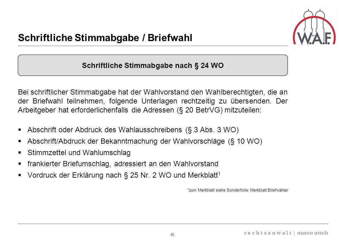 Schriftliche Stimmabgabe / Briefwahl