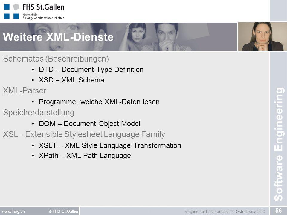 Weitere XML-Dienste Schematas (Beschreibungen) XML-Parser