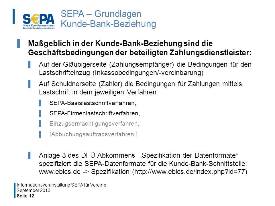 SEPA – Grundlagen Kunde-Bank-Beziehung