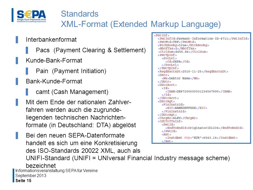 Standards XML-Format (Extended Markup Language)
