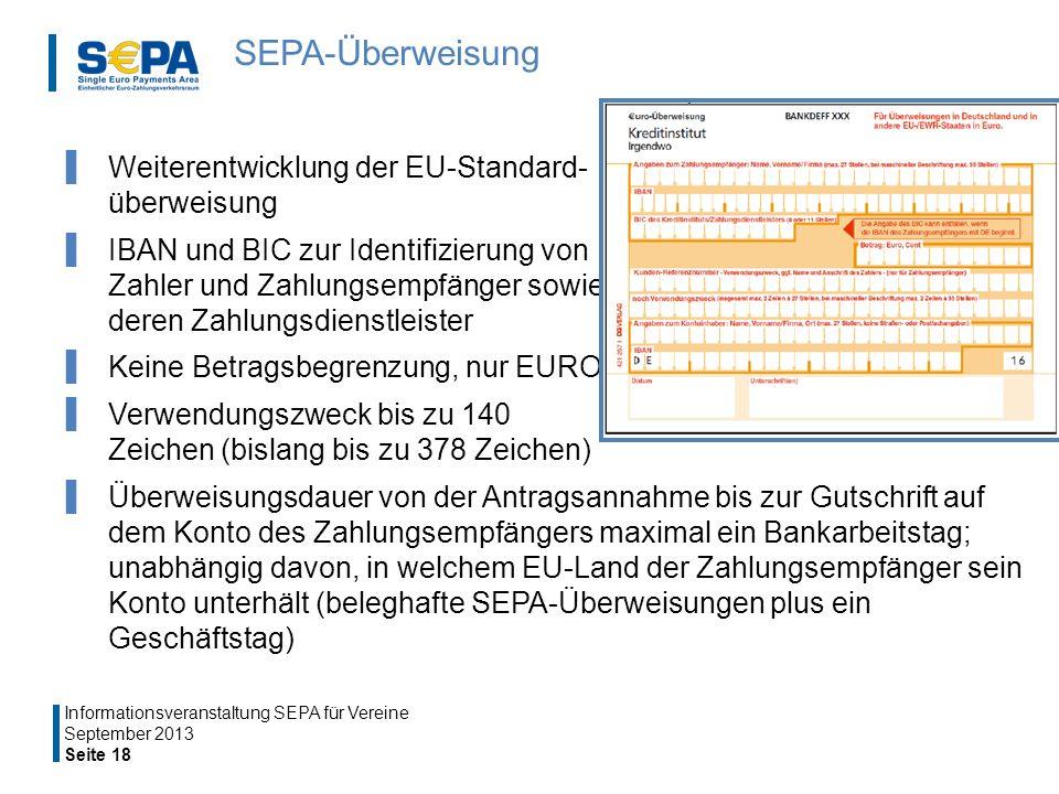 SEPA-Überweisung Weiterentwicklung der EU-Standard- überweisung