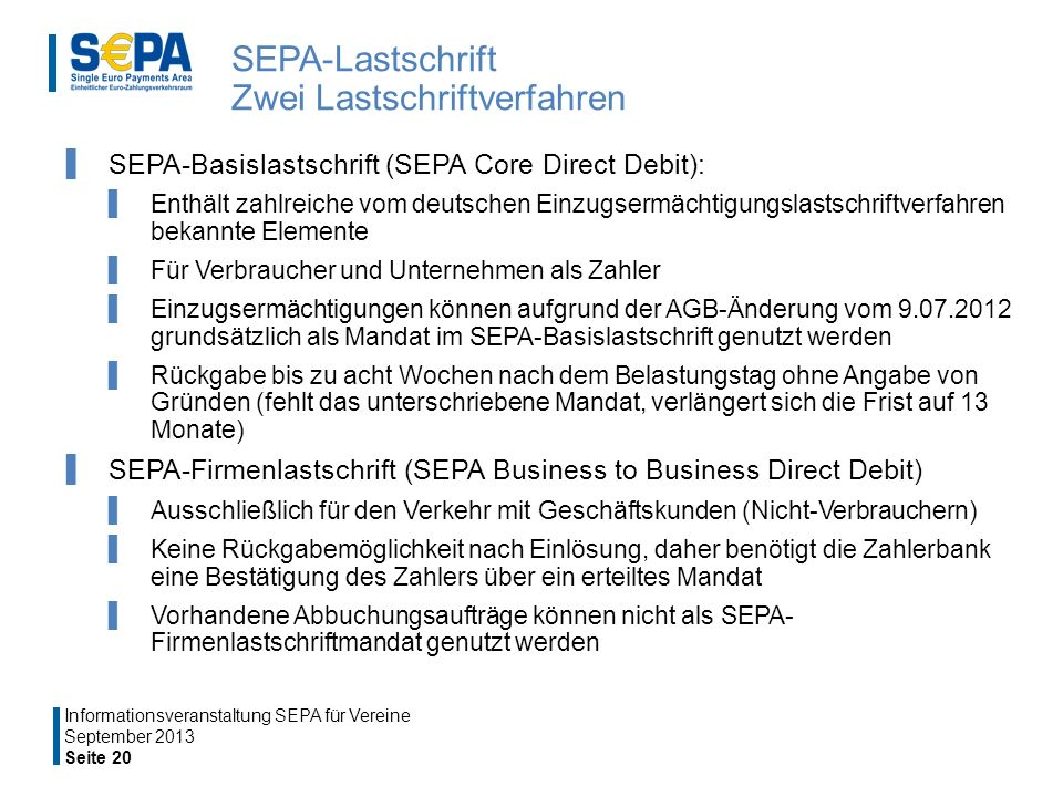 SEPA-Lastschrift Zwei Lastschriftverfahren