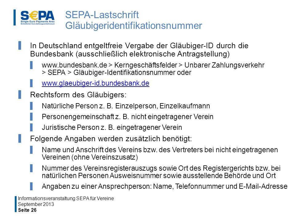SEPA-Lastschrift Gläubigeridentifikationsnummer