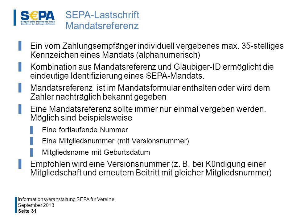 SEPA-Lastschrift Mandatsreferenz