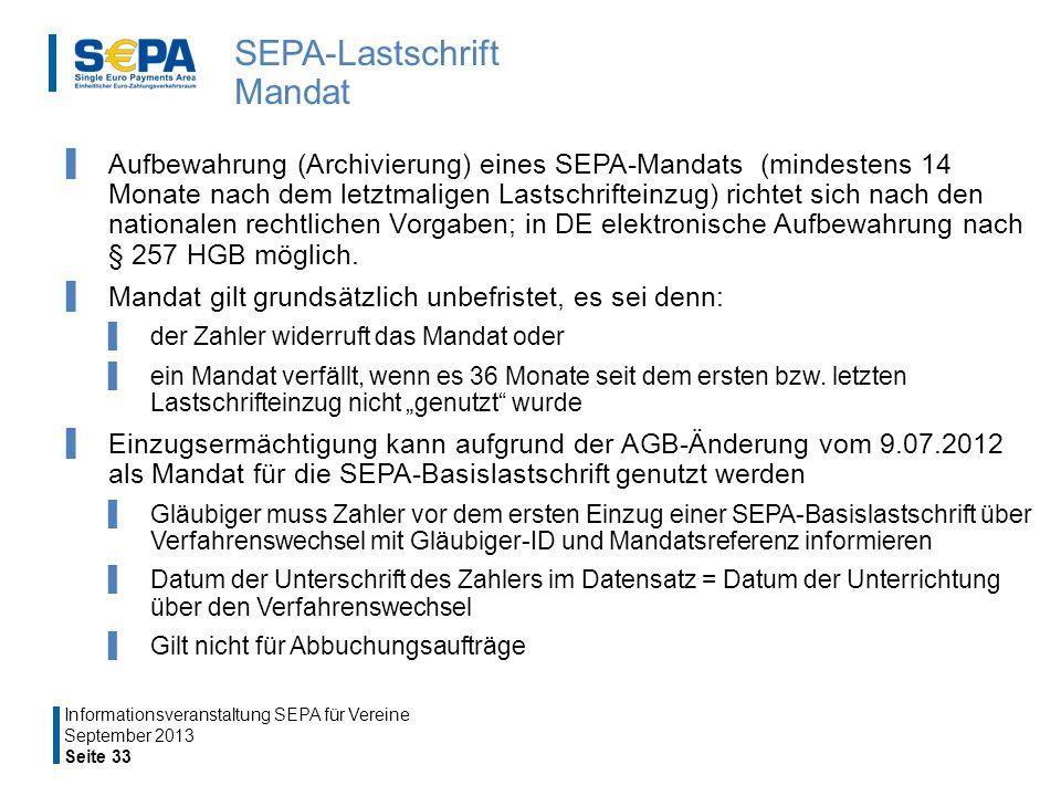 SEPA-Lastschrift Mandat