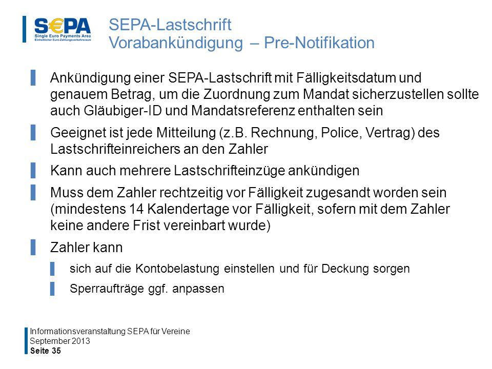 SEPA-Lastschrift Vorabankündigung – Pre-Notifikation