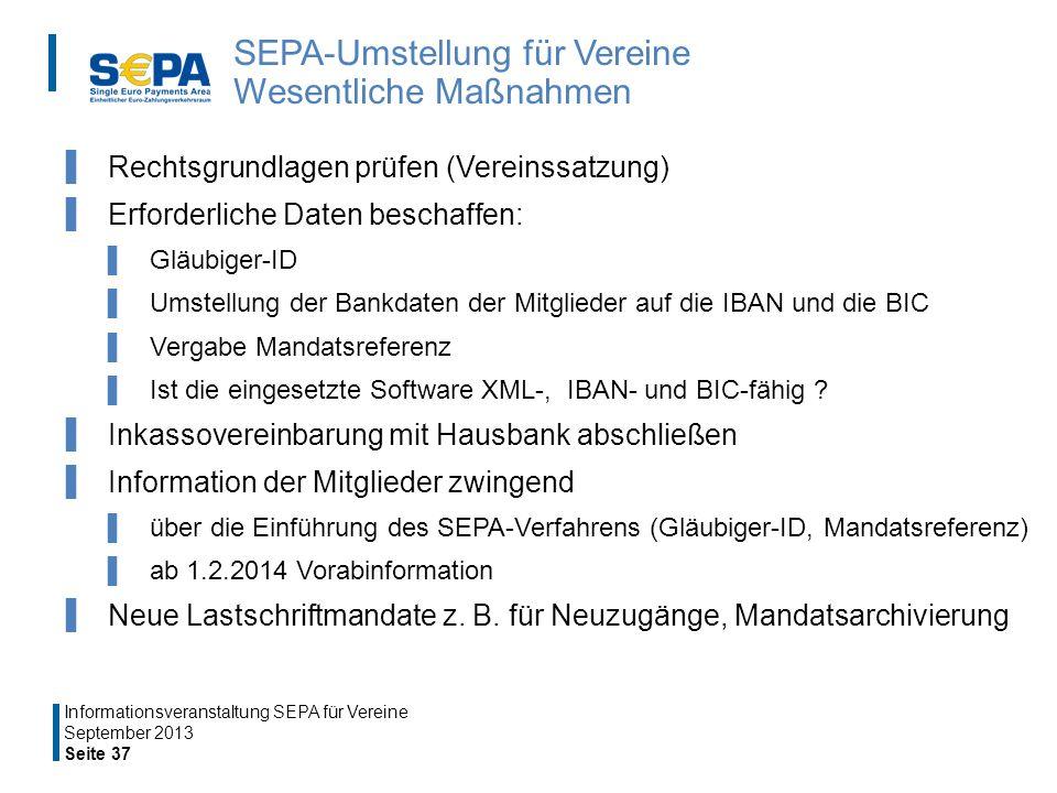 SEPA-Umstellung für Vereine Wesentliche Maßnahmen