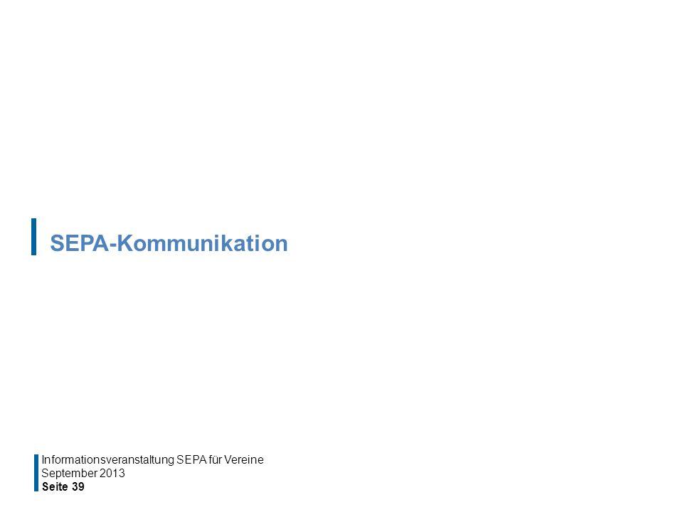 SEPA-Kommunikation Informationsveranstaltung SEPA für Vereine